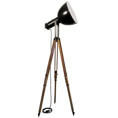 Black Enamel Vintage Industrial Spotlight on French Wooden Tripod (45x)
