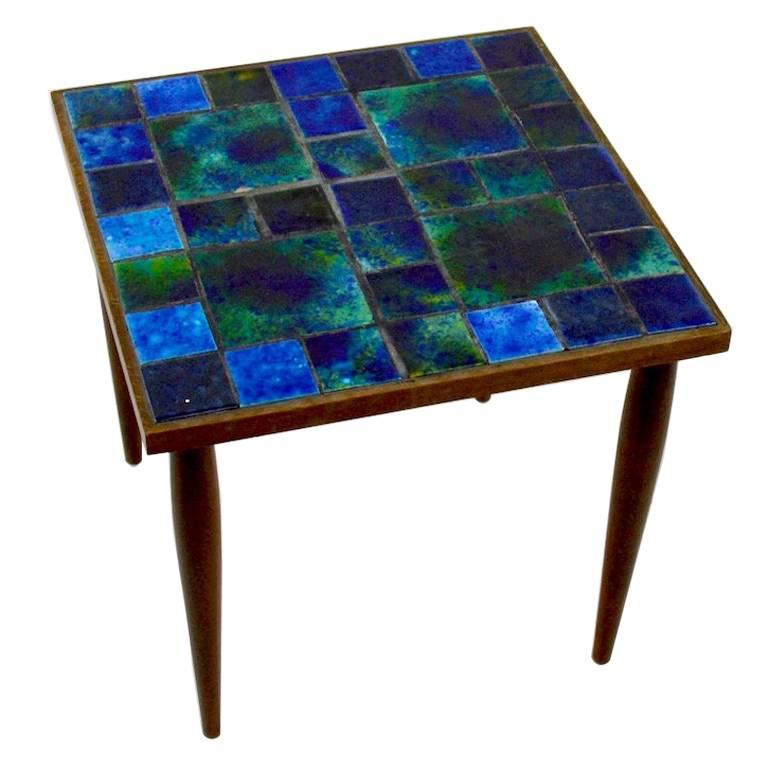 Pair Of Georges Briard Mosaic Top Tables For Sale