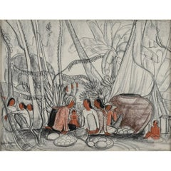 "Drawing ""Asian Merchants in a Forest"" Bu André Maire, 1954"