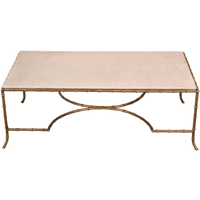Gilt Metal Faux Bamboo Coffee Table