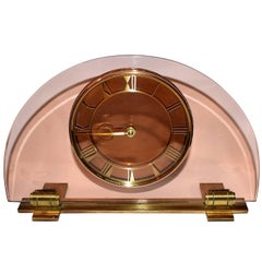 Large 1930s Art Deco Peach Glass Mantle Clock