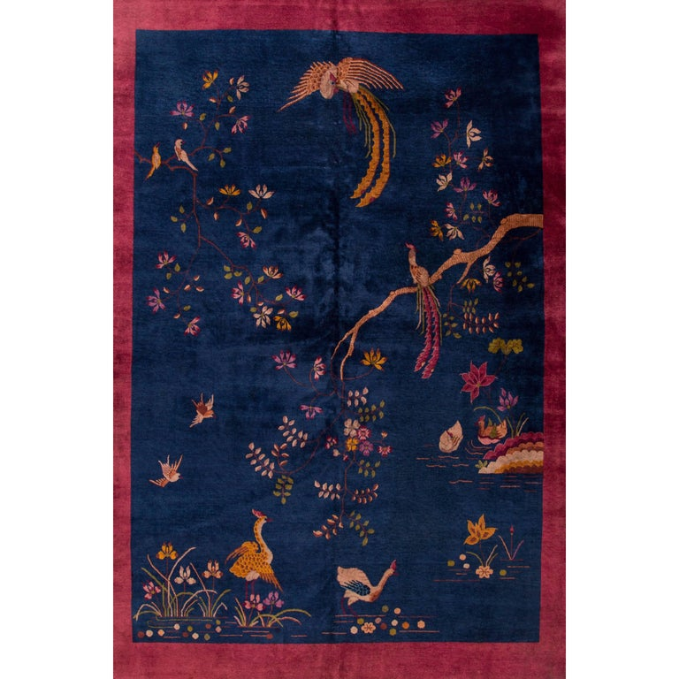 Early 20th Century Blue Chinese Art Deco Rug For Sale At 1stdibs