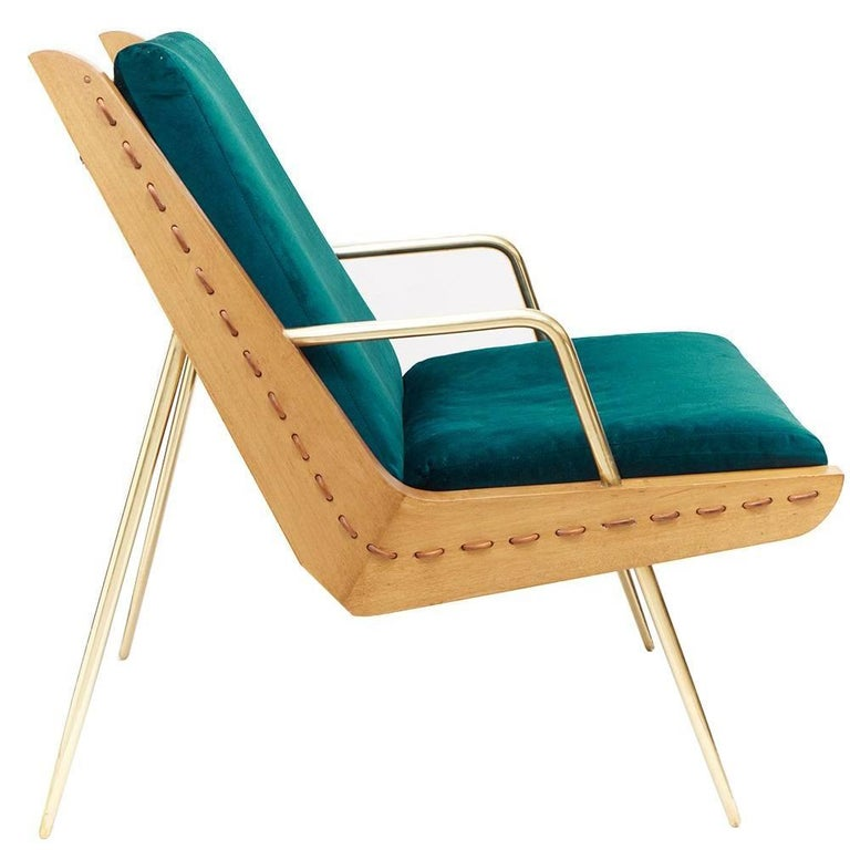 Midcentury Inspired Walt Chair & Ottoman, Wood, Solid Brass, Velvet and Leather For Sale