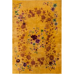 Early 20th Century Gold Floral Chinese Nichols Rug