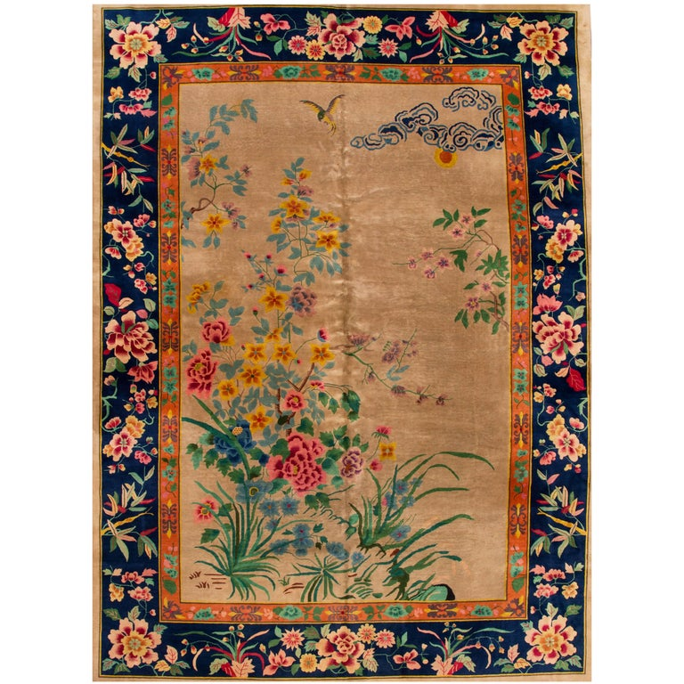 Early 20th Century Colorful Chinese Nichols Rug For Sale