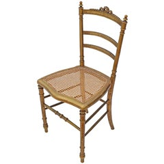 Antique Rare Victorian Gilt Cane Inlaid Bedroom Side Hall Chair, circa 1900