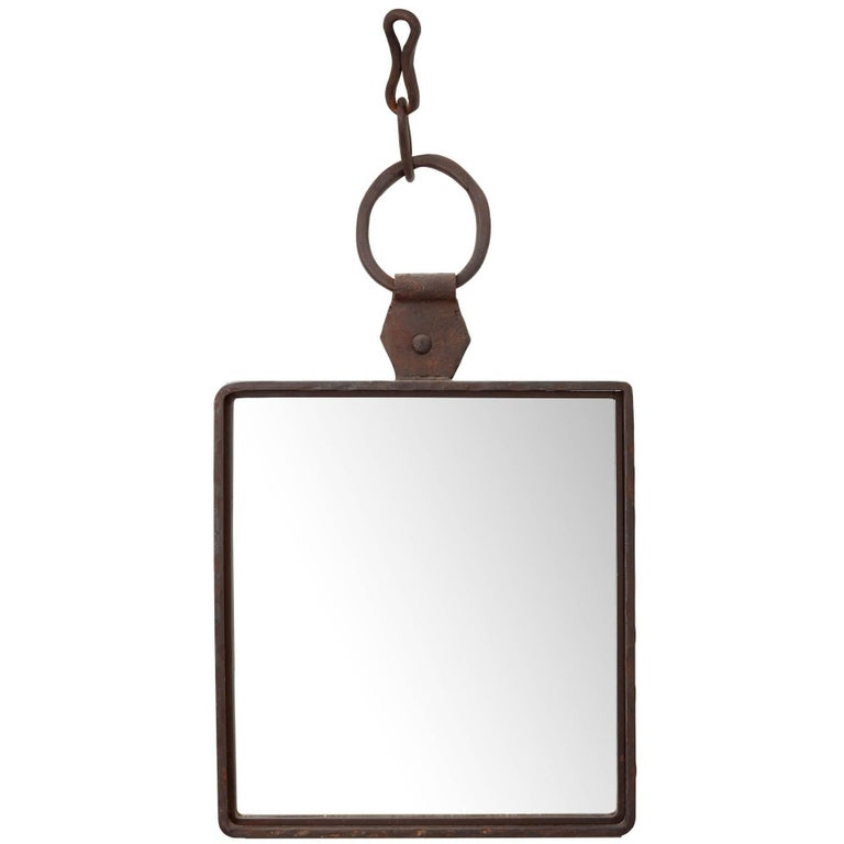 Late 19th Century Hand-Forged English Iron Mirror