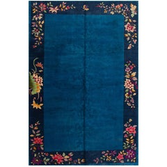 Early 20th Century Blue Chinese Art Deco Rug