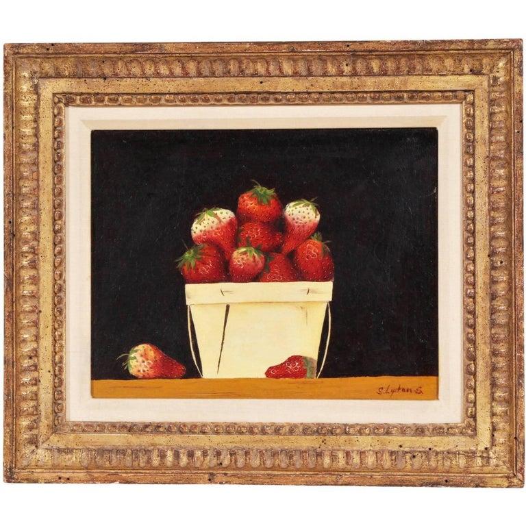 Sondra Lipton American, 20th Century Oil on Board, Still Life with Strawberries