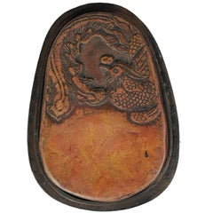 Chinese Phoenix Carved Inkstone with Box
