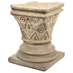 Carved Stone Romanesque Pedestal from Normandy