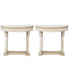 Pair of Marble-Top Console Tables, circa 1920