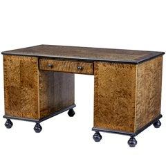 20th Century Art Deco Scandinavian Birch Pedestal Desk