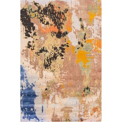 21st Century Contemporary Multicolored Abstract Indian Carpet