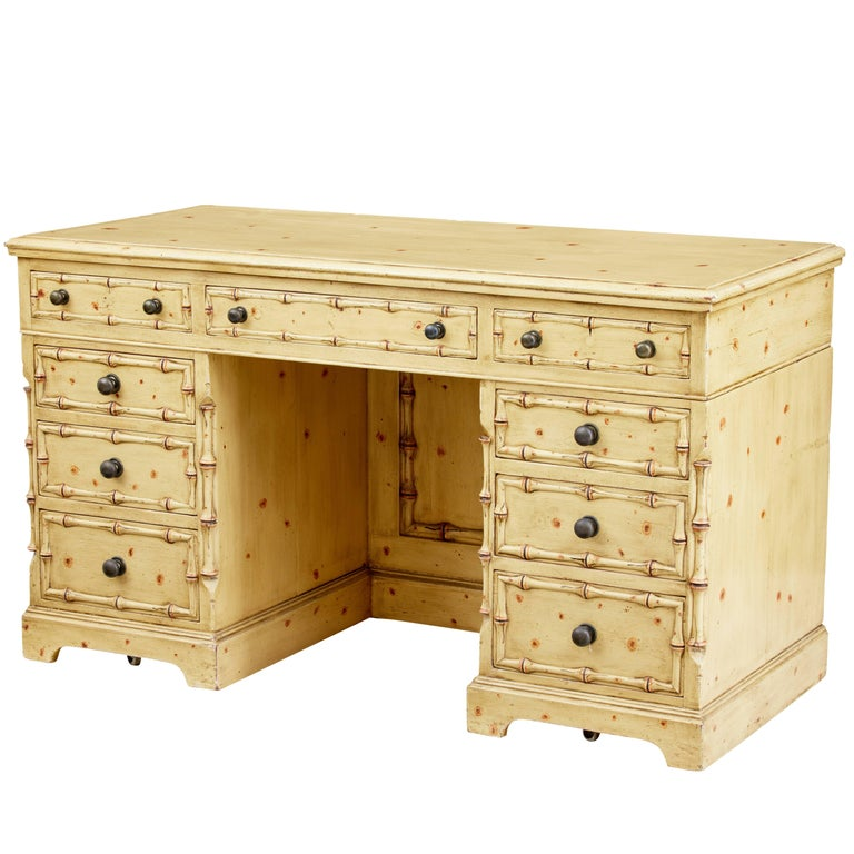 1920s Pine Faux Bamboo Painted Knee Hole Desk
