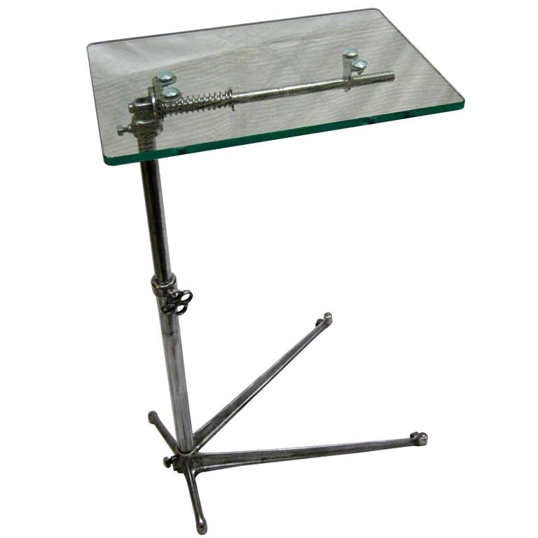 1940s Glass Top High Low Side Table, England For Sale