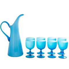 Set of Eight Italian Blue Glass Wine Goblets with Pitcher, circa 1960s