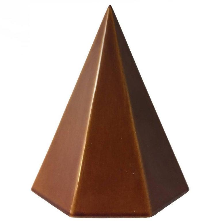 1960s Modernist Ceramic Pyramid with Auburn Glaze For Sale