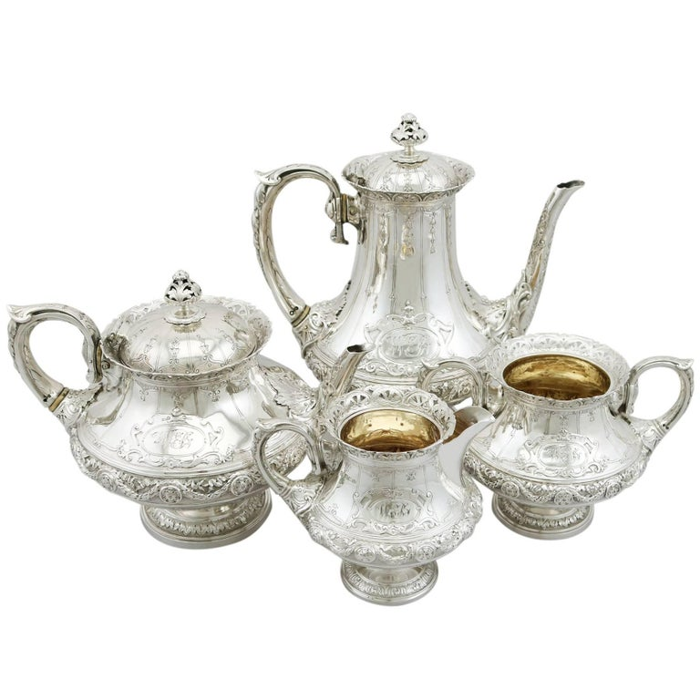 Victorian Sterling Silver Four-Piece Tea and Coffee Service