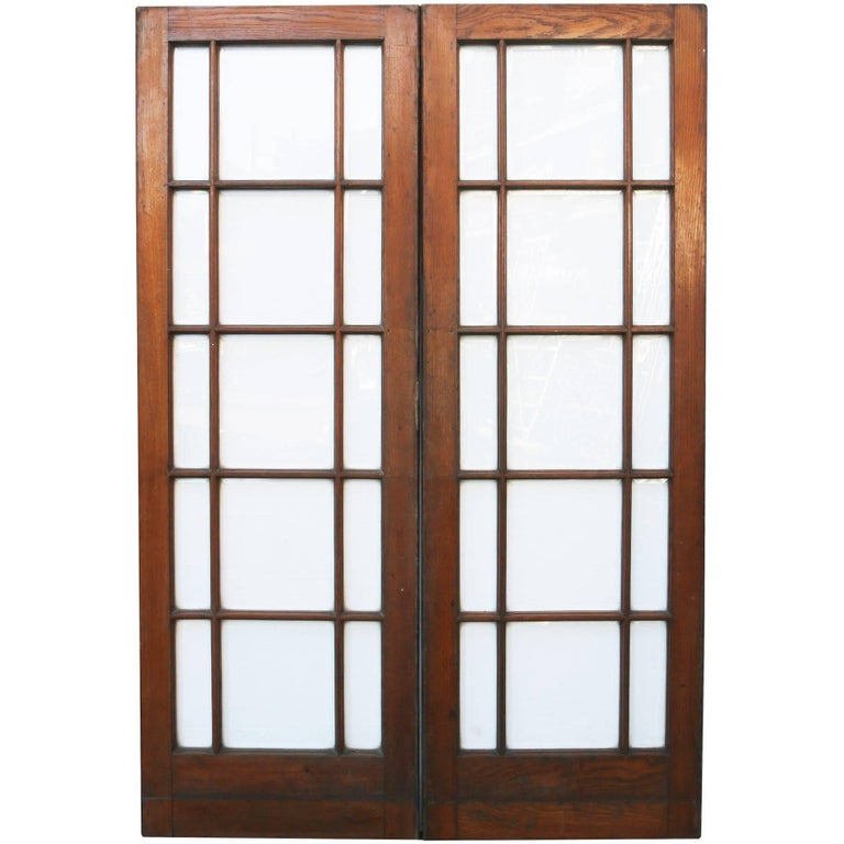 Pair of Antique 1920s Oak Glazed Double Doors with Bevelled Glass