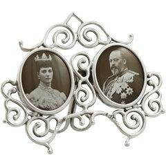 1901 Antique Edwardian Sterling Silver Double Commemorative Frame