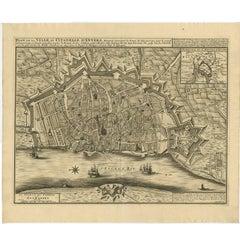 Antique Map of the City of Antwerpen 'Belgium' by A. Deur, 1729