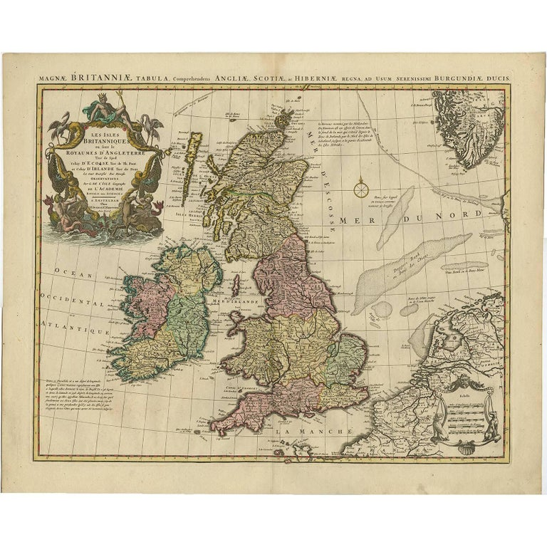 Antique Map \'Colored Cartouches\' of the British Isles by Covens and ...