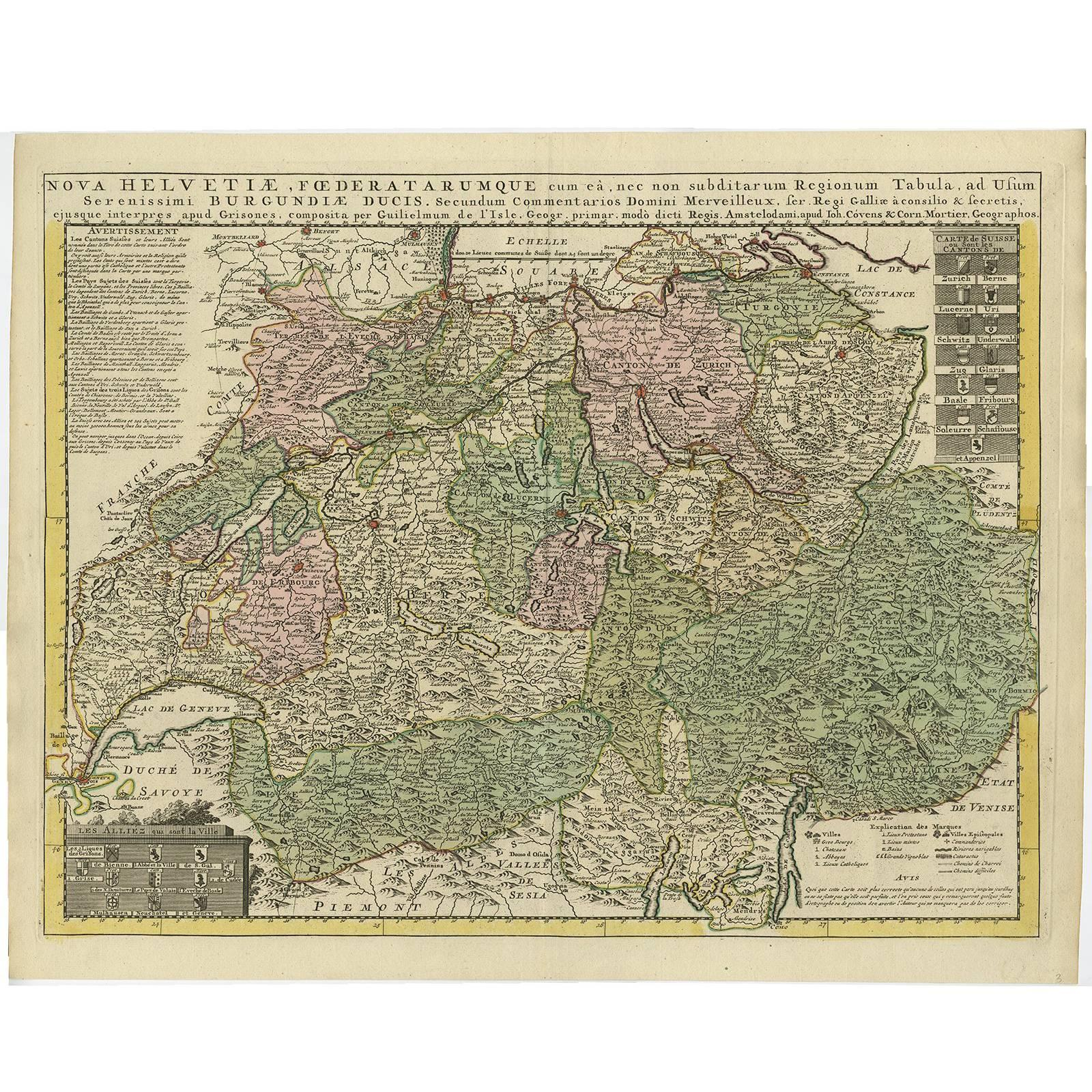 Antique Map of Switzerland by Covens & Mortier, 1749