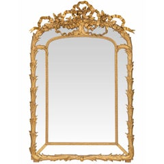 French 19th Century Louis XVI Style Giltwood Double Framed Mirror