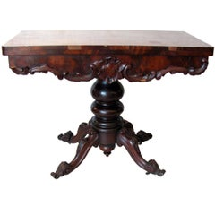 19th Century Victorian Mahogany Foldover Tea Game Console Table circa 1880