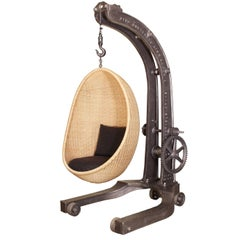 Cast Iron Manual Crank Engine Hoist with Nanna Ditzel Hanging Egg Chair