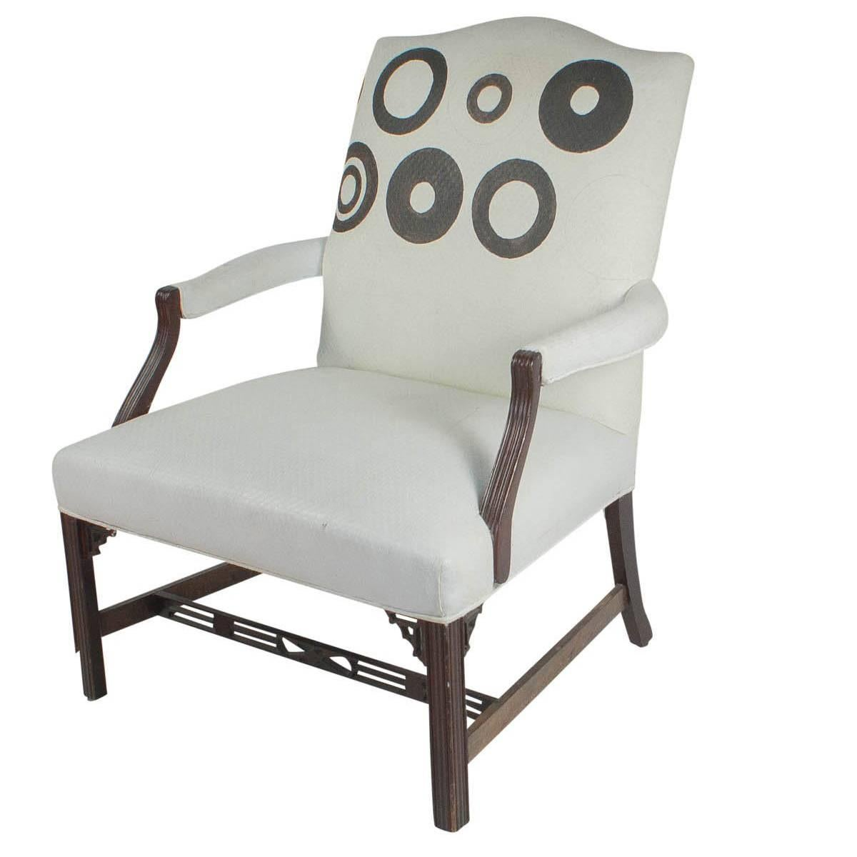 Large Vintage Mahogany Library Chair, England, 1920
