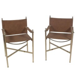 Pair of Steel and Brass Directors Chairs Attributed to Jansen