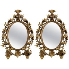 Florentine Monumental Pair Florentine Rococo Style Giltwood and Gesso Mirrors