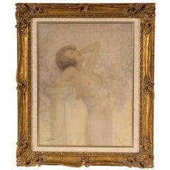 Lucien Boulier Female Nude Oil on Board