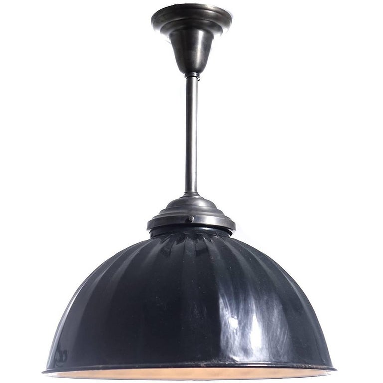 Large Black Pleated Dome Pendent For Sale