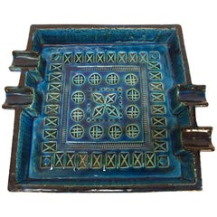 Aldo Londi Blue Ceramic Ashtray Handcrafted in Italy