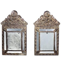 Antique 1880s Decorative French Mirrors, Matching Pair