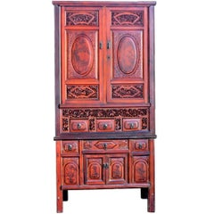 Antique Fully Carved Scholar's Cabinet