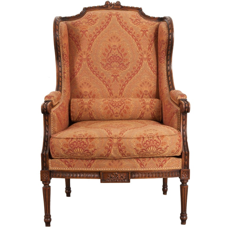 French 19th Century Louis XVI Upholstered Bergère