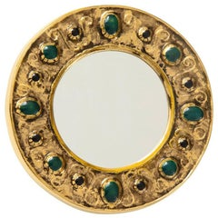 Francois Lembo Ceramic Mirror Gold Emerald Jewels Signed, France, 1970s
