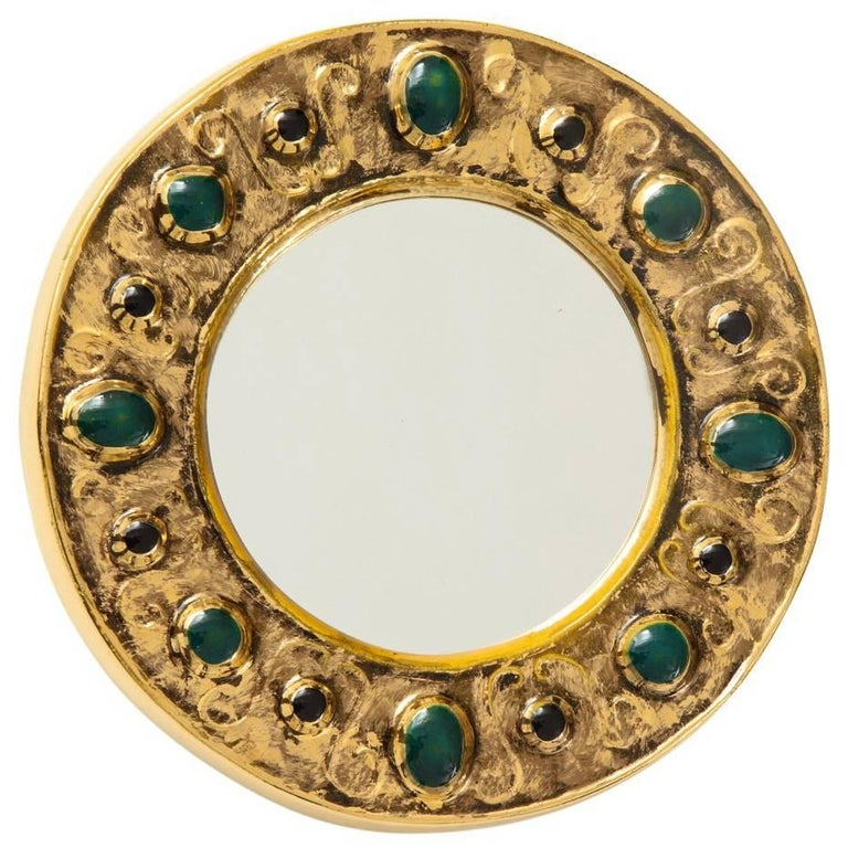 Francois Lembo Mirror, Ceramic, Jeweled, Gold, Emerald Green, Signed For Sale