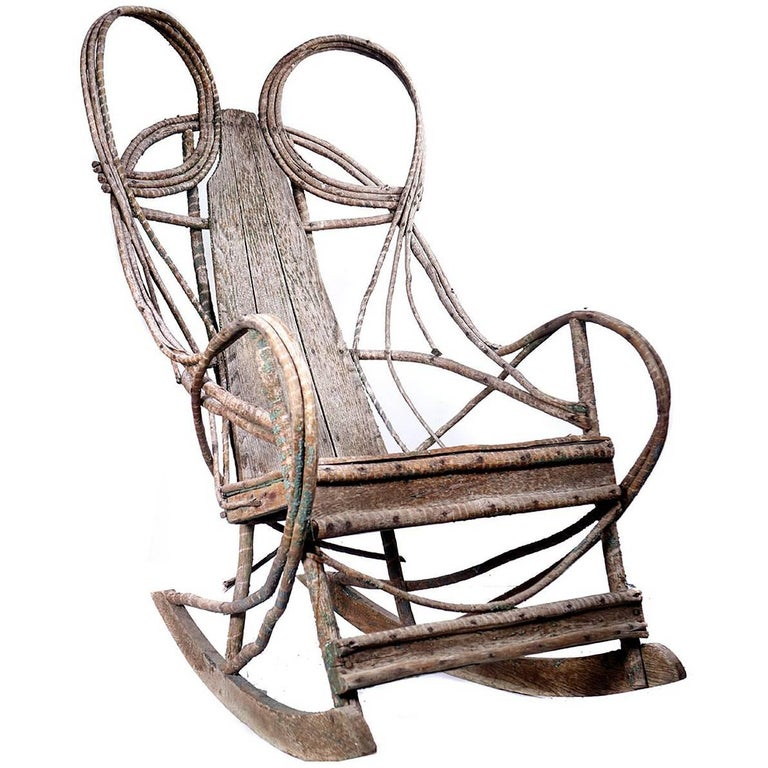 1910 Rustic Adirondack Bentwood and Board Rocker For Sale