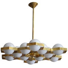 Beehive White Globes Chandelier