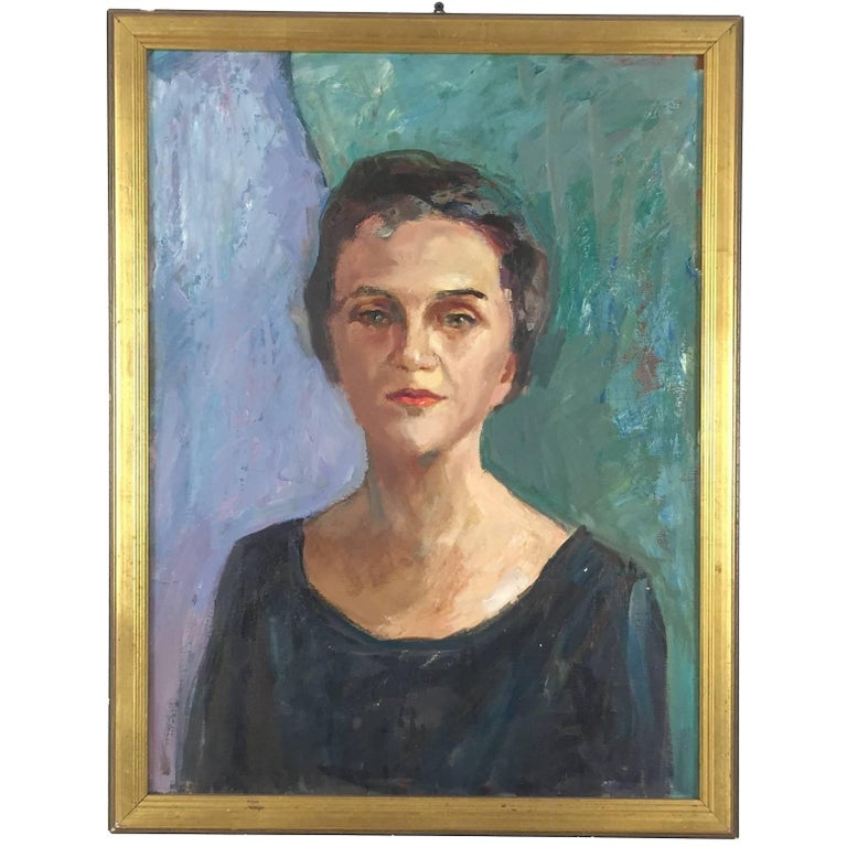 Midcentury Oil on Canvas Portrait of a Woman, 1960s