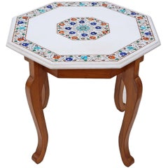 Quality Pietra Dure Marble Walnut Octagonal Centre Occasional Coffee Table