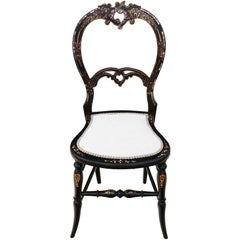 Antique Rare Victorian, circa 1890 Mother-of-Pearl Inlaid Bedroom Chair Side
