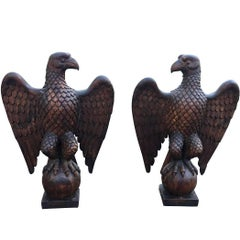 American Pair of Carved Yellow Pine Spread Wing Eagles
