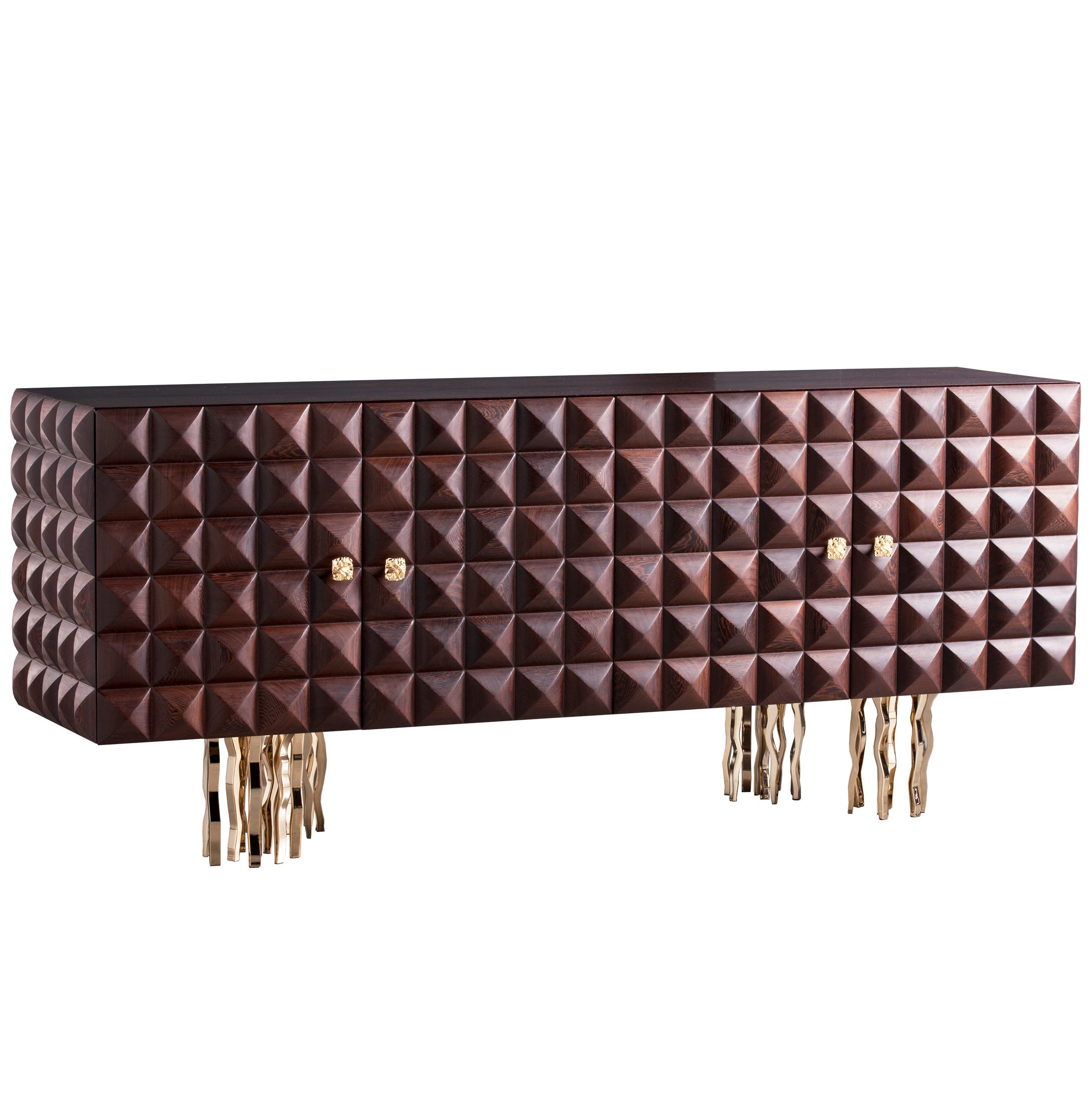 """""""Il Pezzo 10 Credenza"""" made of embossed solid wenge and gold plated brass"""