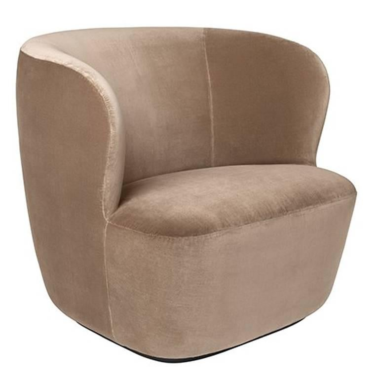 Contemporary Stay Lounge Chair in Cotton Velvet with an Optional Swivel For Sale